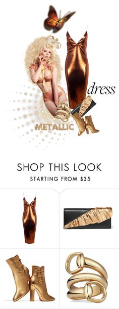 """Heavy Metal: Metallic Dresses"" by kari-c ❤ liked on Polyvore featuring Boohoo, Yves Saint Laurent, Gianvito Rossi, Gucci and metallicdress"