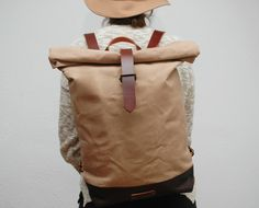 Canvas Totes – waxed Canvas Backpack, hand waxed – a unique product by NATURAL-HERITAGE-BAGS via en.dawanda.com