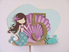 Mermaid Cake Topper Birthday Cake Topper by twogirlspaperdesign