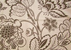 This large fabric sample by Schumacher is 26 inches by 26 inches and is a linen blend fabric. It has a creamy beige background with deep…