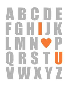 Orange and Grey Alphabet Poster - Nursery Art Print - ANY COLOR COMBO - 11 x 14 Kids Nursery Wall Art