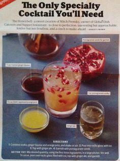 Honeybell   pomegranate ginger cocktail