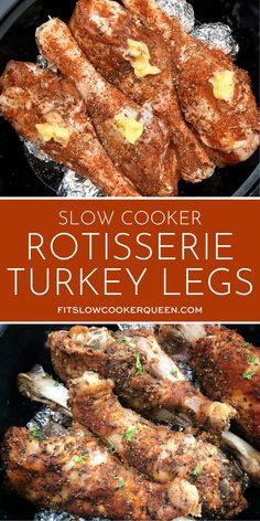 It doesn't have to be Thanksgiving to appreciate this paleo, and low-carb turkey legs recipe. Made in the slow cooker so it's super easy too. Crockpot Turkey Legs, Turkey Leg Recipes, Slow Cooker Turkey, Turkey Crockpot Recipes, Chicken Recipes, Crockpot Meals, Paleo Recipes Easy, Whole 30 Recipes, Dutch Recipes