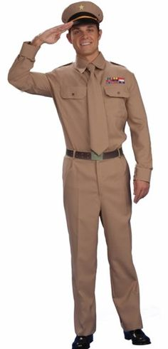 WW2 General Adult Costume World War 2 Army Uniform Hat Pants Tie Shirt Halloween | eBay