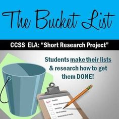 """$1- Students do research """"in disguise"""" with short research projects on a personally relevant topic that doesn't feel like word! Students make their own Bucket Lists and research the exact process that would be needed to get one of those Bucket items DONE."""