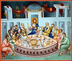 Holy Week-last supper Religious Icons, Religious Art, Holy Thursday, Russian Icons, Biblical Art, Byzantine Icons, Last Supper, Eucharist, Holy Week