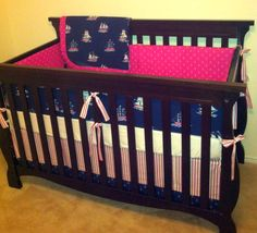 Custom Crib Bedding - Sarah Jane Out to Sea - Deep Sea Jewel - Navy Blue, Aqua and Pink