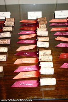 Cork escort cards! Would be cute for dinner parties as place settings as well.