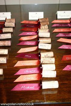 Wine cork and ribbon escort cards