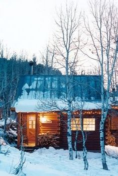 Second dream home: snowy cabin in the woods.