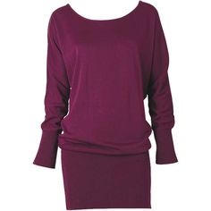 Megan Dolman Sweater Dress ($30) ❤ liked on Polyvore featuring dresses, vestidos, sweaters, tops, bat sleeve dress, ribbed dress, boatneck dress, purple dress and ribbed sweater dress