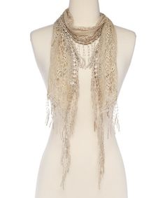 Another great find on #zulily! Tan Lace Scarf #zulilyfinds