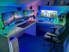 Cool Ultimate Game Room Design Ideas ☼ Via Livingadore Gaming Setup Rooms Setup Xbox Gaming Desk Setup, Computer Gaming Room, Best Gaming Setup, Ultimate Gaming Setup, Cool Gaming Setups, Gamer Setup, Computer Laptop, Fun Video Games, Video Game Rooms