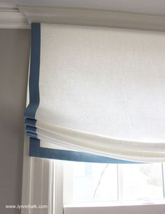 Relaxed Roman Shade in Kravet Dublin Linen (Comes in Over 50 Beautiful Colors) with Samuel and Sons Trim Linen Roman Shades, Custom Roman Shades, Curtains With Blinds, Roman Blinds, Roman Curtains, Bedroom Blinds, Window Blinds, Valance, Window Coverings