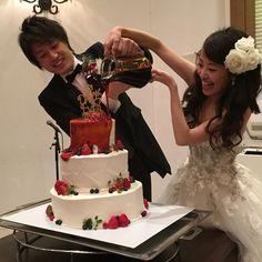ウェディングケーキは初見の #カラードリップケーキ 可愛かったー♡いつまでかければいいか困ってたとこも面白かった♡笑 #yoichi_asami1203