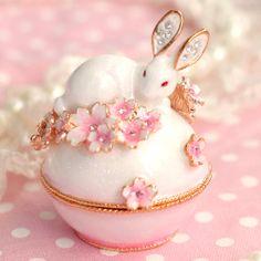 Sakura Petite Bunny Jewelry Box by sweetsinwonderland on Etsy White Bunnies, Disney Makeup, Bunny Art, Spring Is Coming, Cute Toys, Jewel Box, Trinket Boxes, Rabbits, Happy Easter