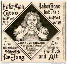 Original-Werbung/Inserat/ Anzeige 1899 - HAFER MALZ & CACAO / HARTWIG & VOGEL DRESDEN - ca. 90 x 90 mm