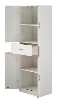 System Build 4 Door Storage Cabinet With Drawer White Canadian