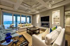 Neutral Transitional Living Room With Ocean View