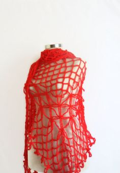 CROCHET SHAWL  Red Triangle by modelknitting on Etsy, $44.00
