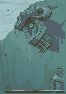 Another beast from Shadow of the Colossus. This one walks on all fours. Peering down at Wanda. Just for fun.