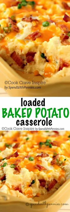 Loaded Twice Baked Potato Casserole! This delicious side has all of your favorite loaded potato flavors in a simple casserole!