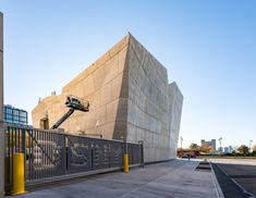 New award-winning sculptural salt shed designed by Dattner Architects and sited on Manhattan's west side, next to the Manhattan Districts 1/2/5 Garage.