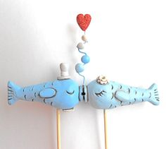 Light Blue Kissing Fish wedding cake topper for your beach wedding as seen in Real Maine Weddings magazine via Etsy