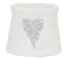 Bloempot Romee: anders dan anders. Witte bloempot met hart en tekst