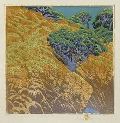 Point Lobos, 1946,  by Gustave Baumann (1881-1971) color woodcut