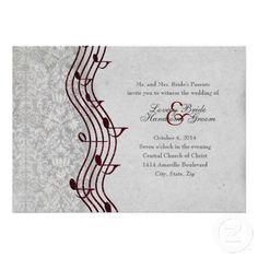 Gray Damask Red Music Elegant Wedding Invitation