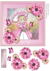 vieira on Craftsuprint 3d Sheets, Quick Cards, Vintage Cards, Paper Piecing, Girl Birthday, Purple, Pink, Decoupage, Card Making