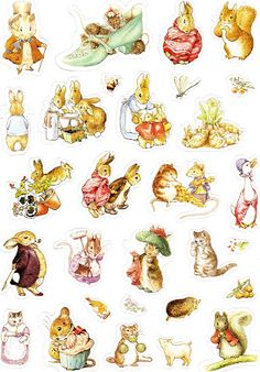 LÁMINAS - Beatrix Potter for card making, scrapbooking – Kekas Scrap – Picasa… Deco Stickers, Printable Stickers, Paper Toy, Paper Dolls, Coelho Peter, Beatrix Potter Illustrations, Beatrice Potter, Peter Rabbit And Friends, Rabbit Baby