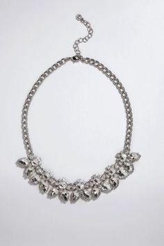 Silver Tone Pretty Jewelled Necklace