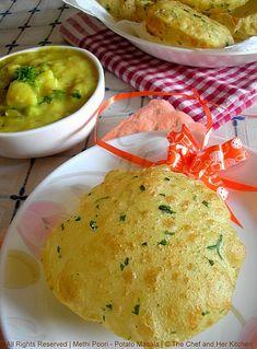 Methi Poori and Potato Masala.a Classic Combo! Indian Veg Recipes, Indian Snacks, Indian Breads, Indian Dishes, Methi Recipes, Chapati Recipes, Indian Breakfast, India Food, Desi Food