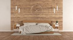 Minimalist master bedroom with wooden double bed by archideaphoto. Minimalist master bedroom with double bed agaist wooden wall ¨C rendering Bedroom Bed Design, Dream Bedroom, Master Bedroom, Double Bedroom, Wooden Double Bed, Double Beds, Decorative Wall Panels, Minimalist Decor, Wooden Walls
