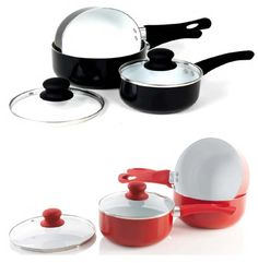3pc kitchen hero red black saucepan set pots pans non #stick #ceramic #cooking li,  View more on the LINK: http://www.zeppy.io/product/gb/2/151287543012/