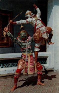Khon masked play. Postcard, Siam.