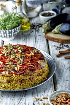 """Take your love for Middle Eastern cuisine one step further with the traditional Maklouba. The Arabic word literally translates to """"upside-down"""", Lebanese Recipes, Indian Food Recipes, Vegetarian Recipes, Cooking Recipes, Ethnic Recipes, Rice Recipes, Arabic Recipes, Cooking Tips, Rice"""