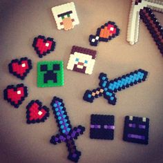 Minecraft creations from plastic beads. IKEA beads- $10, Imagine If- $29