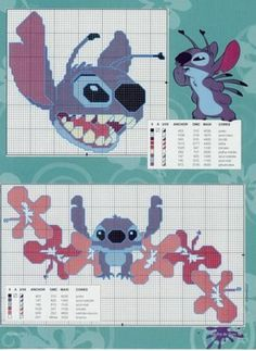 Lilo e Stitch Disney Stitch, Disney Cross Stitch Kits, Lilo Ve Stitch, Counted Cross Stitch Patterns, Cross Stitch Charts, Cross Stitch Designs, Cross Stitch Embroidery, Tom E Jerry, Stitch Cartoon