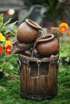 Classic Urn Pots and Broken Bucket Outdoor Patio Garden Water Fountain