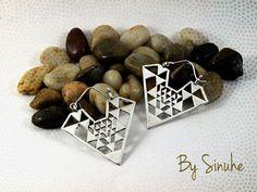Brass earrings, Vintage earrings, Silver earrings, Geometric jewelry, Tribal earrings, Gypsy earrings, Triangle earrings, Bohemian jewelry