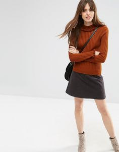 Image 4 of ASOS Sweater In Rib With Ruffle Neck