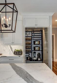 White paneled kitchen cabinet doors open to a concealed walk-in pantry filled with dark stained shelving boasting horizontal tray shelves as well as shelves dedicated to small kitchen appliances.