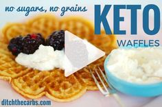 """These have just been named """"the best keto waffles in the world"""". Simple and easy to make with no protein powders. Just a few ingredients and simple to make. Make a double or triple batch and freeze them. Make them sweet or savoury.  