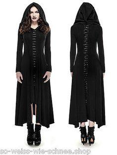 Punk Rave Gothic Hexe Witch Lolita Kleid Kapuze Steampunk Dress Spitze Q290