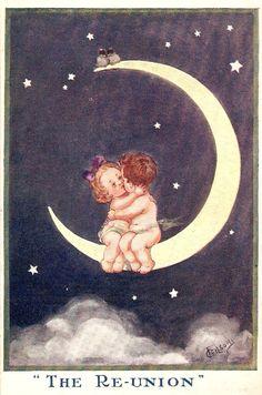 Moon kisses - vintage postcard