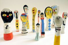 Lili scratchy ceramic spoons with faces ...