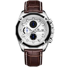 Men Watches Fashion Genuine Leather Chronograph Watch Clock for Gentle MenProduct Specifications: Dial Diameter Case Shape :Round Band Material :Leather Case Thickness Feature :Complete Calendar,Chronograph Clasp Type :Buckle Case Material :Alloy Movement Casual Watches, Cool Watches, Cheap Watches, Datejust Rolex, Herren Chronograph, Skeleton Watches, Vintage Watches For Men, Mens Watches Leather, Bracelet Cuir